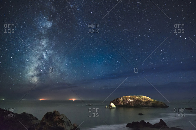View of Milky Way on night sky over beach