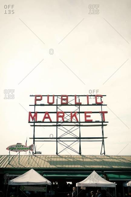 Seattle, WA, USA - September 28, 2012: Sign of Pike Place Market