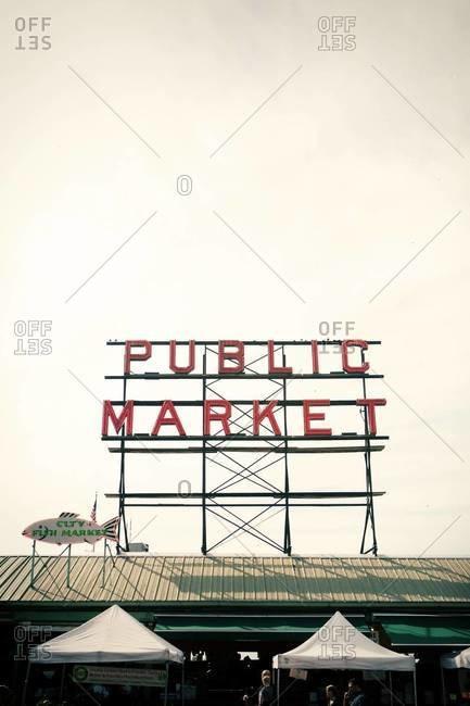 Seattle, WA, USA - September 28, 2012: Sign of Pike Place Market