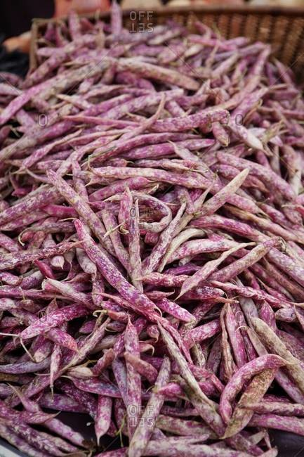 Close up of Borlotti beans at a market