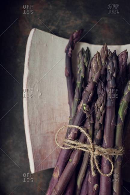 Top view of a bunch of purple asparagus
