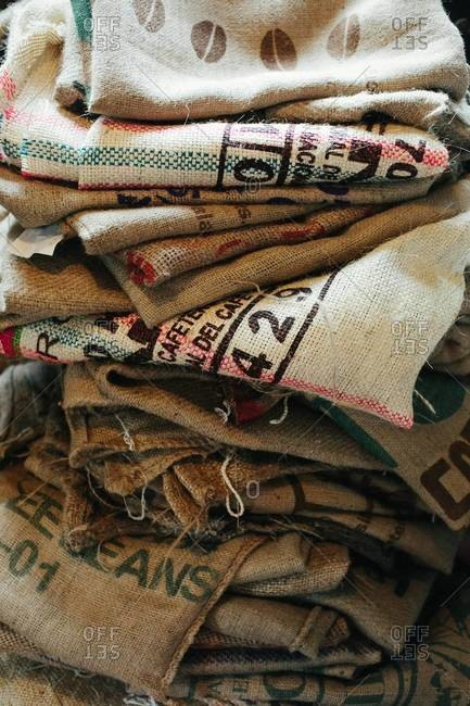 Pile of empty hessian sacks