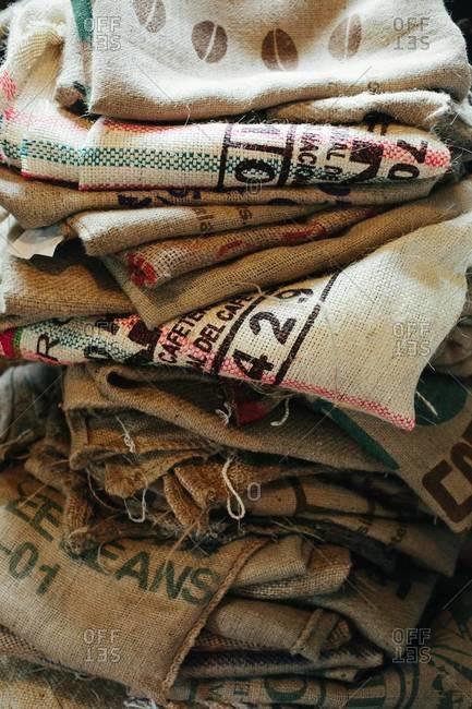 Pile of empty hessian sacks