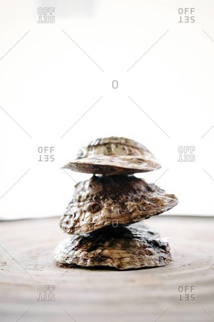Three oysters stacked together