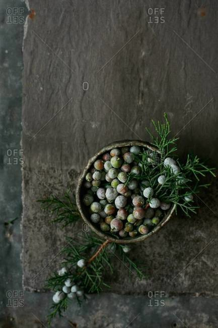 Juniper berries in a small bowl