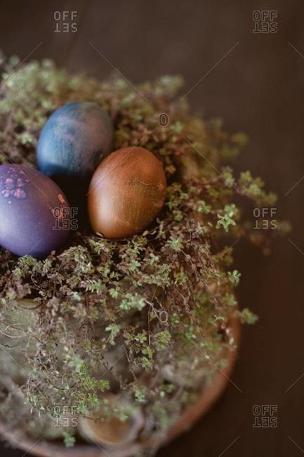 Easter eggs in a flower pot