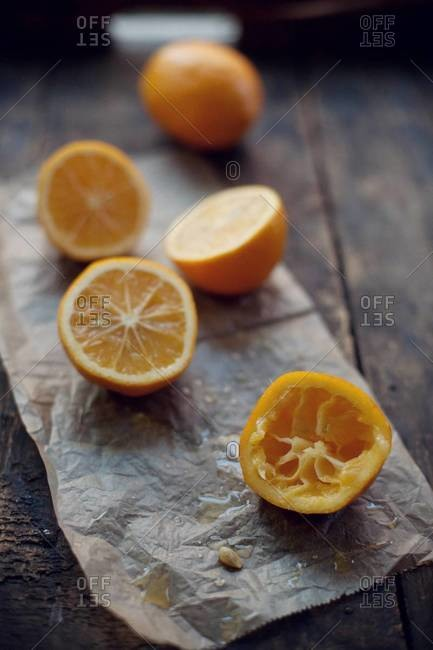 Close up of lemon halves on a table