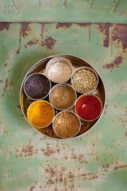Top view of Indian spices on a tray