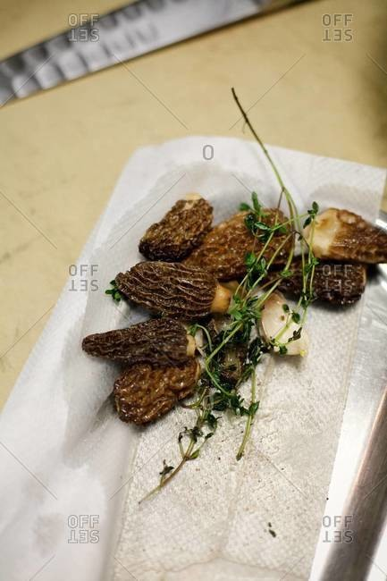 Close up of morchella mushrooms with herbs