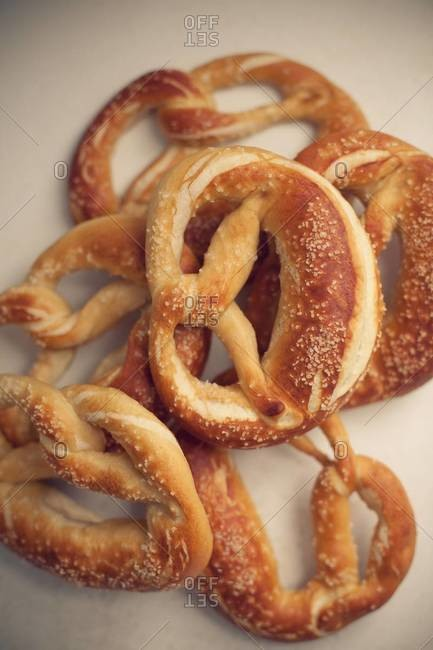 Close up of fresh pretzels