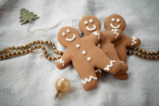 Top view of decorated gingerbread man