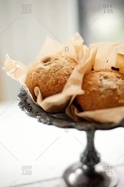 Banana breads on cake stand