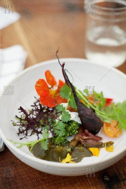 Baby vegetables served on plate