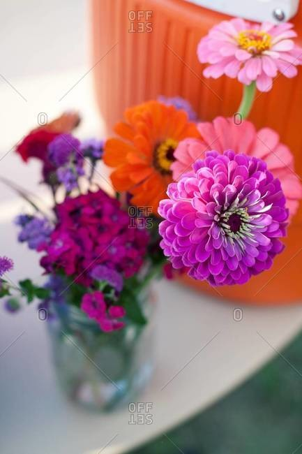 Bouquet of wild flowers in vase