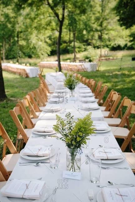 Laid table in garden party