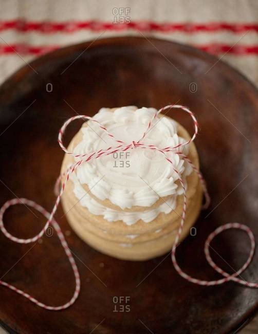 Decorative cookies with white buttercream as holiday gift