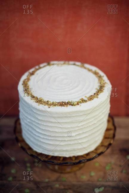 Honey vanilla buttercream pistachio cake