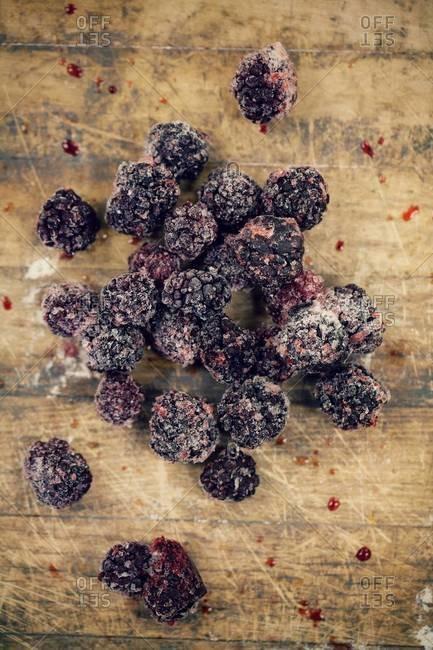 Top view of frozen mulberries
