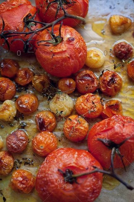 Top view of various roasted tomato on parchment paper