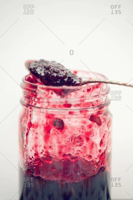 Blackberry jalapeno jam in jar