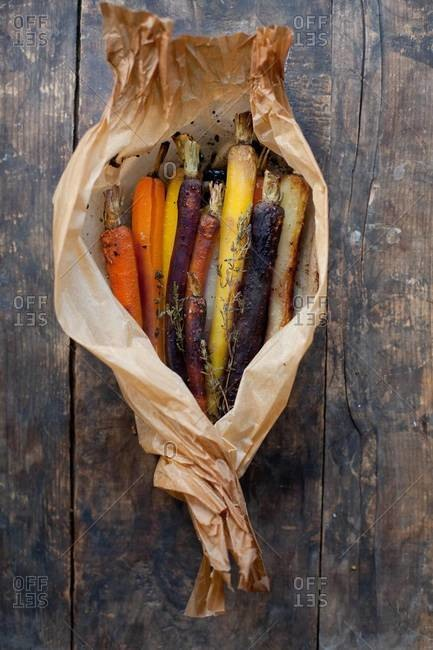 Roasted carrots wrapped in parchment