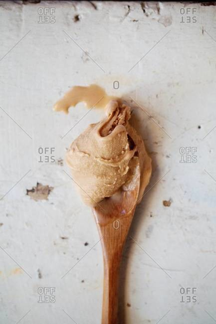 Fresh hazelnut ice cream on spoon