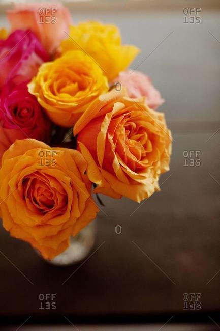 Colorful bouquet of roses in vase