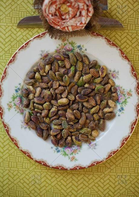 Toasted pistachios served on plate