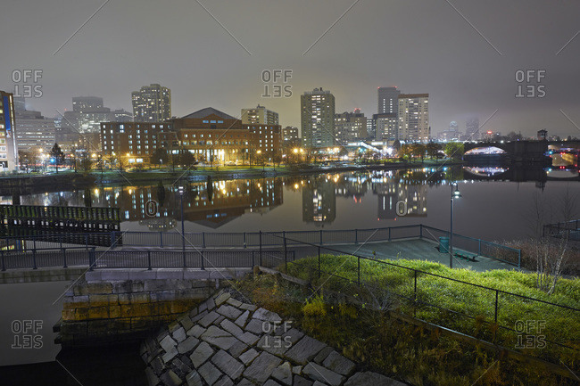 Skyline at night with Charles River, West End Neighborhood, Boston, Massachusetts, USA