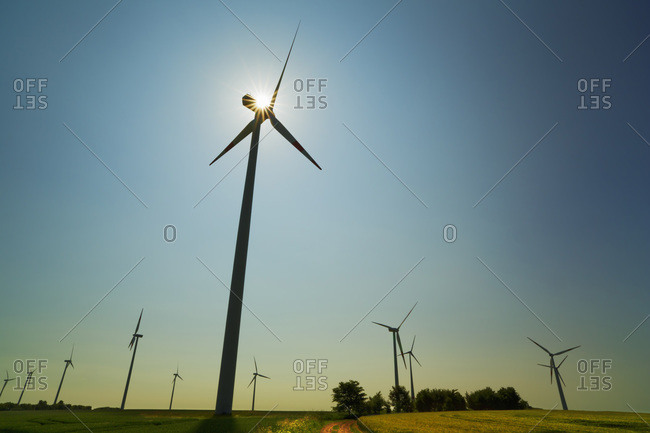 Wind farm, Altentreptow, Mecklenburg Lake District, Mecklenburg-Vorpommern, Germany