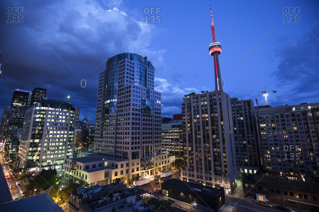 CN Tower and skyline at night, Toronto, Ontario, Canada