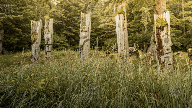 Weathered totem poles on the Queen Charlotte Islands, Canada