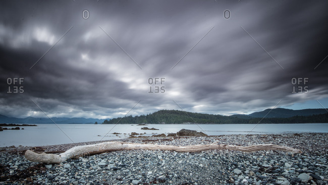 Stormy sky over a bay at Gwaii Haanas National Park, Canada