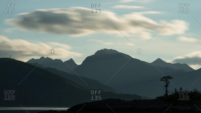 Silhouette of rolling hills in Haida Gwaii, Northern British Columbia.