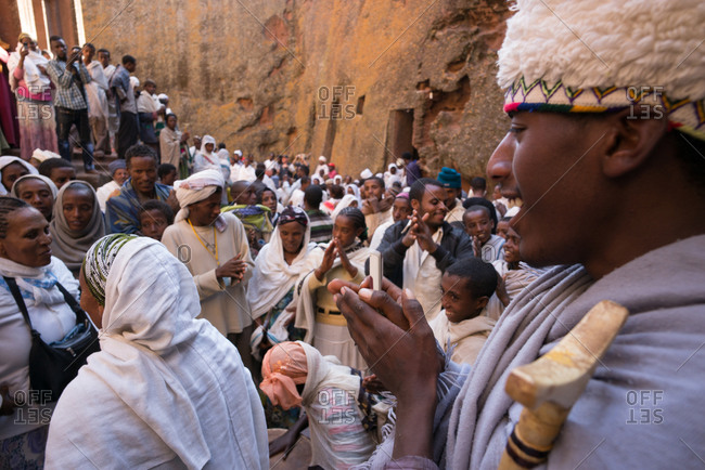 Lalibela, Ethiopia - January 5, 2014: Celebrating Christmas for Coptic Christians in Lalibela, Ethiopia