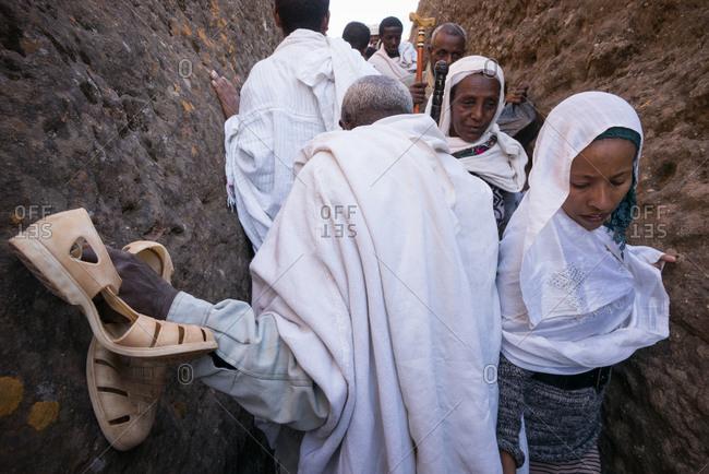 Lalibela, Ethiopia - January 5, 2014: Pilgrims in Lalibela, Ethiopia