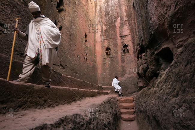 Lalibela, Ethiopia - January 6, 2014: Full length of pilgrims in Lalibela, Ethiopia