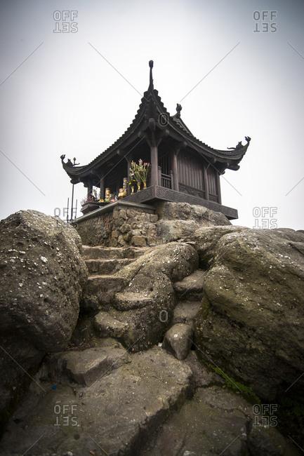 Chua Dong, the copper pagoda on the top of Yen Tu mountain, Vietnam
