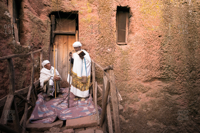 Lalibela, Ethiopia - January 6, 2014: Pilgrims and priests celebrate Ethiopian Orthodox Christmas in Lalibela, Ethiopia