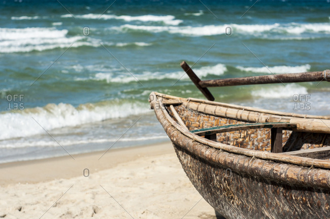 Traditional boat on the beach of Nha Trang, Vietnam
