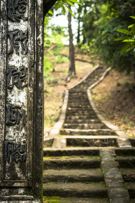 Path leading through a forest on the Yen Tu mountain, Vietnam