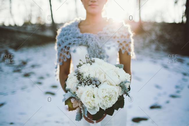 Close up of bride\'s bouquet