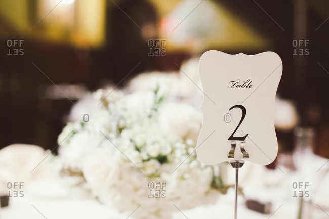 Table number on wedding reception