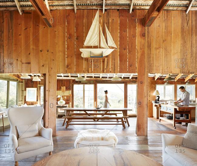 Stylish living room in barn