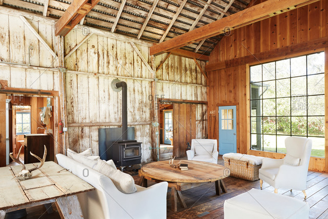 Country chic style living room in a barn