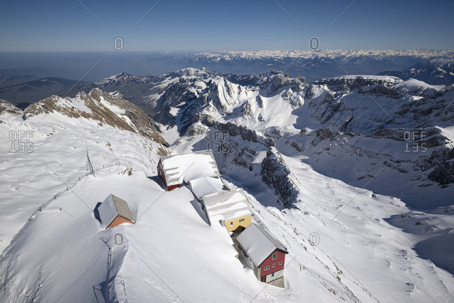 Mountain inns at Saentis, in the background Appenzell Alps