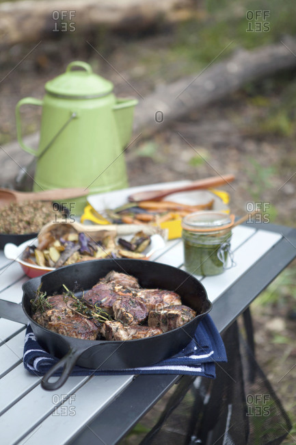 Seared lamb chops and grilled vegetables for al fresco dinner