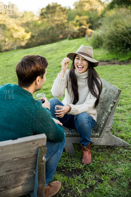 Couple having conversation in the garden