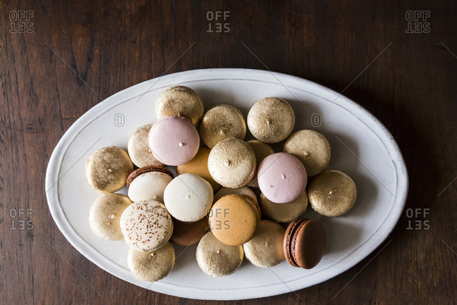 Overhead view of French Macaroons