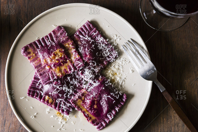 Beet ravioli with goat cheese ricotta and mint filling